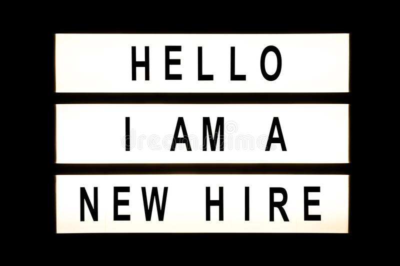 Hello I am new hire hanging light box. Sign board stock image