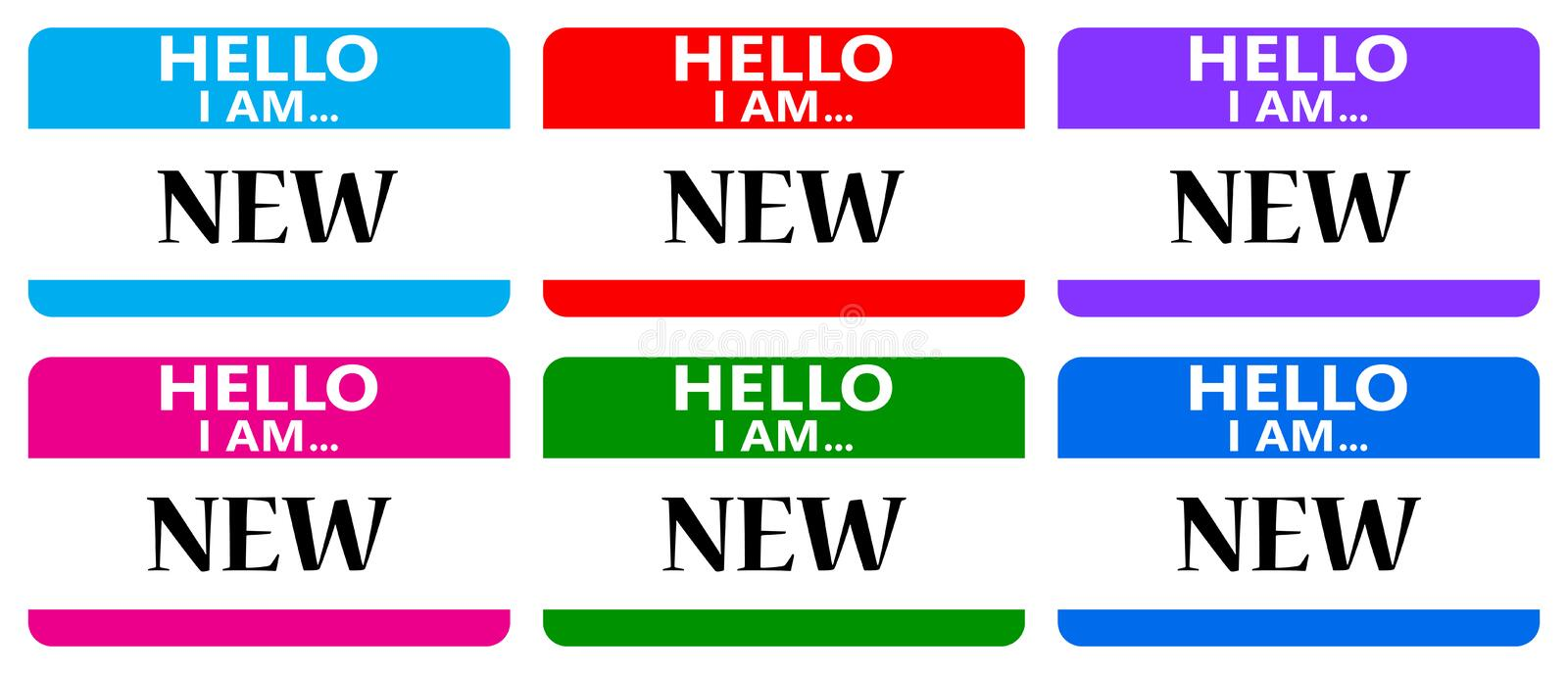 Hello i am new name tags vector illustration