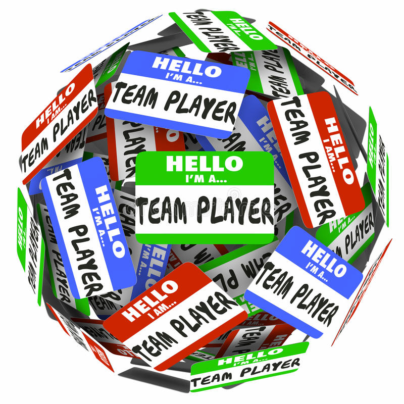Hello I Am a Team Player Name Tag Stickers Sphere Working Together royalty free illustration