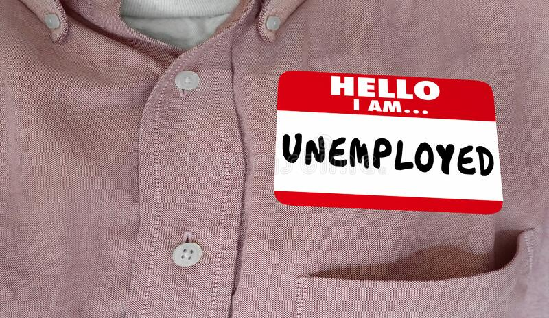 Hello I Am Unemployed Name Tag Sticker Shirt Worker No Job 3d Animation stock images