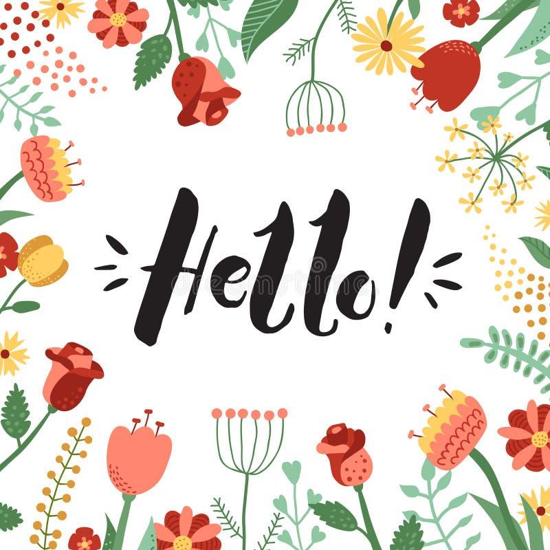 Hello! inkt met de hand geschreven van letters voorziende achtergrond en kaart met bloemenkader royalty-vrije illustratie