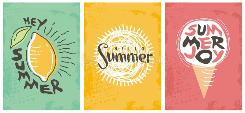 Hello-inzameling van de zomer de seizoengebonden banners stock illustratie