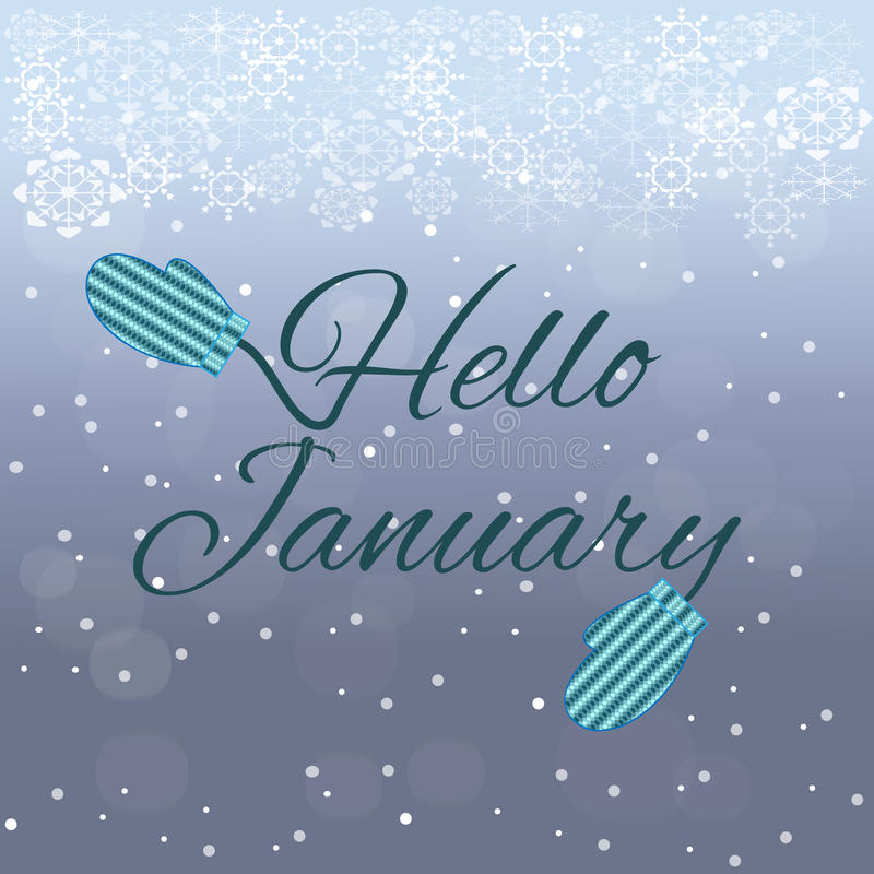 Hello January lettering on blue background stock image