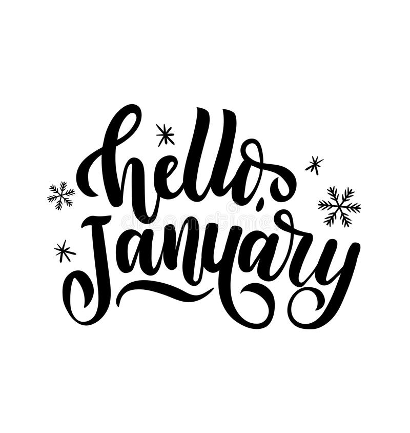 Hello january lettering card with snowlakes. Hand drawn inspirational winter quote with doodles. Winter greeting card. vector illustration