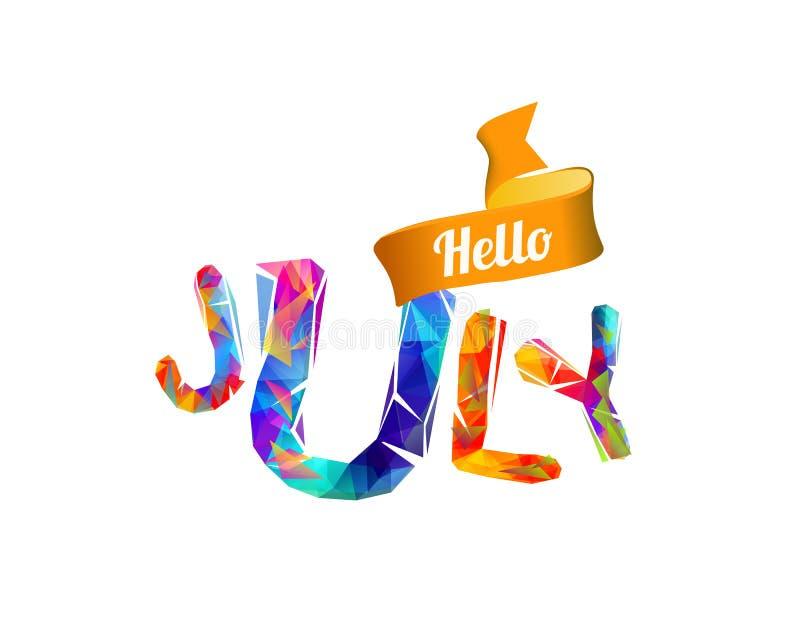 Hello Juli Driehoekige brieven stock illustratie