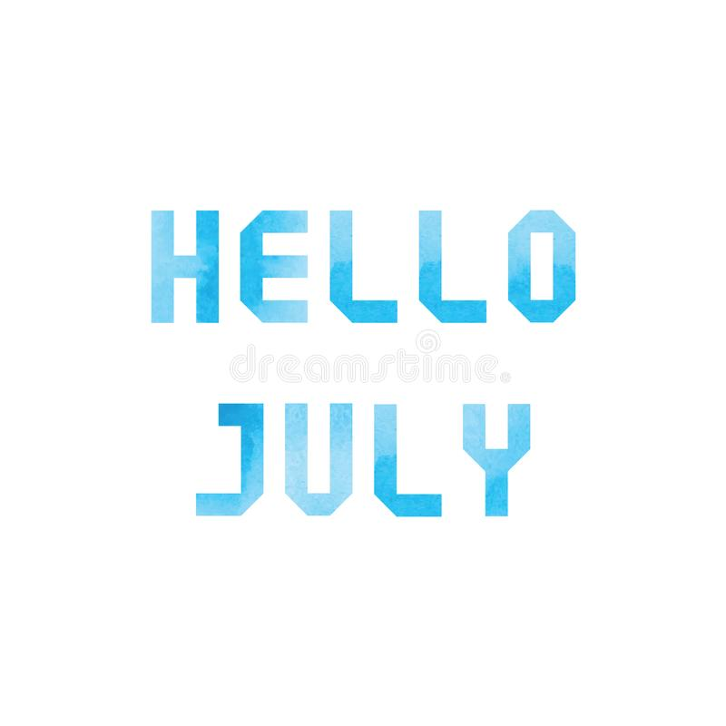 Download Hello July Card With Blue Watercolor Stock Illustration    Illustration Of Isolated, Typography: