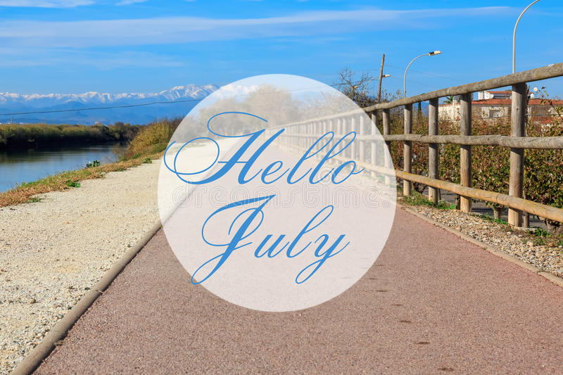 Great Download Hello July Greeting Card With Summer Trail Path Background Stock  Photo   Image Of Month