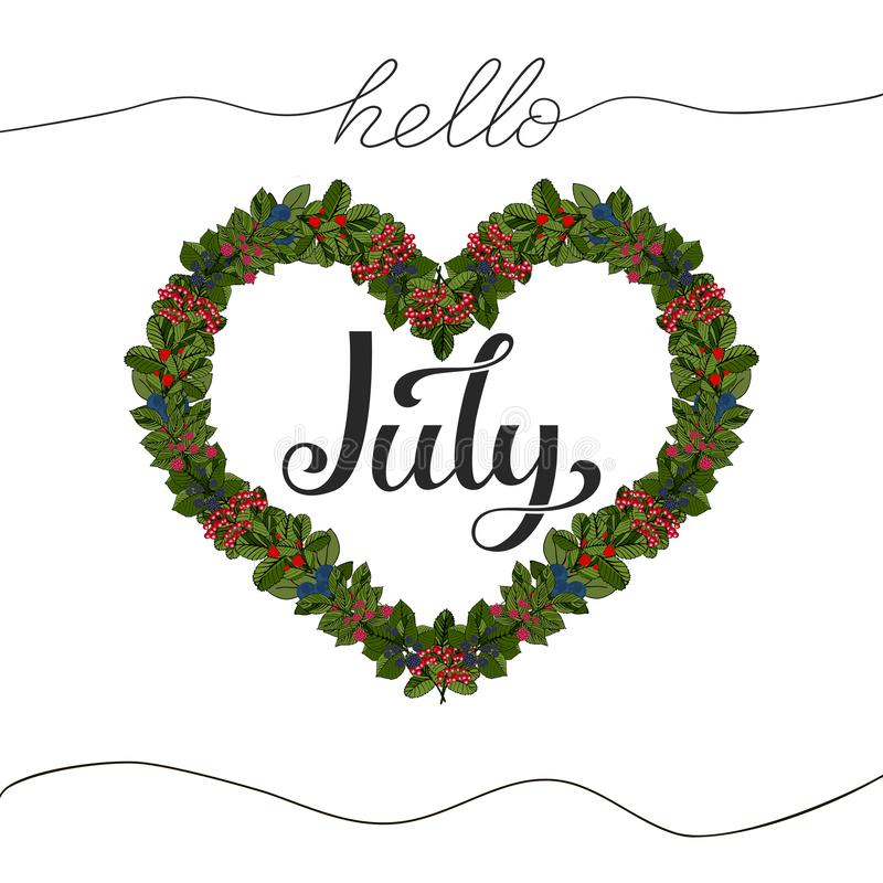 Hello July hand drawn lettering. Vector illustration stock illustration