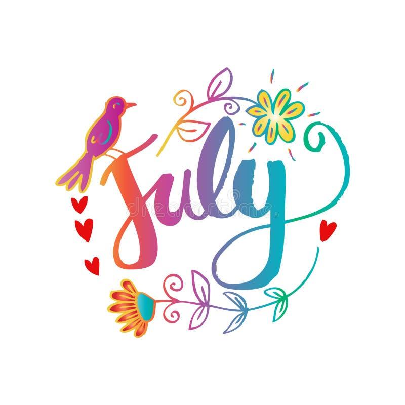 Hello July Hand Lettering Phrase. Stock Illustration ...