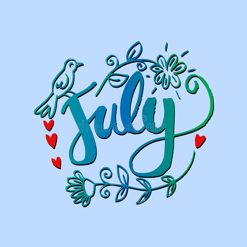 Awesome Download Hello July Hand Lettering Phrase. Stock Illustration    Illustration Of Greetin, Decor:
