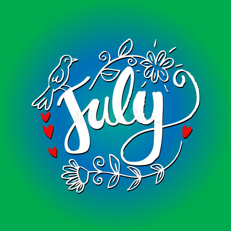 Wonderful Download Hello July Hand Lettering Phrase. Stock Illustration    Illustration Of Card, Greeting: