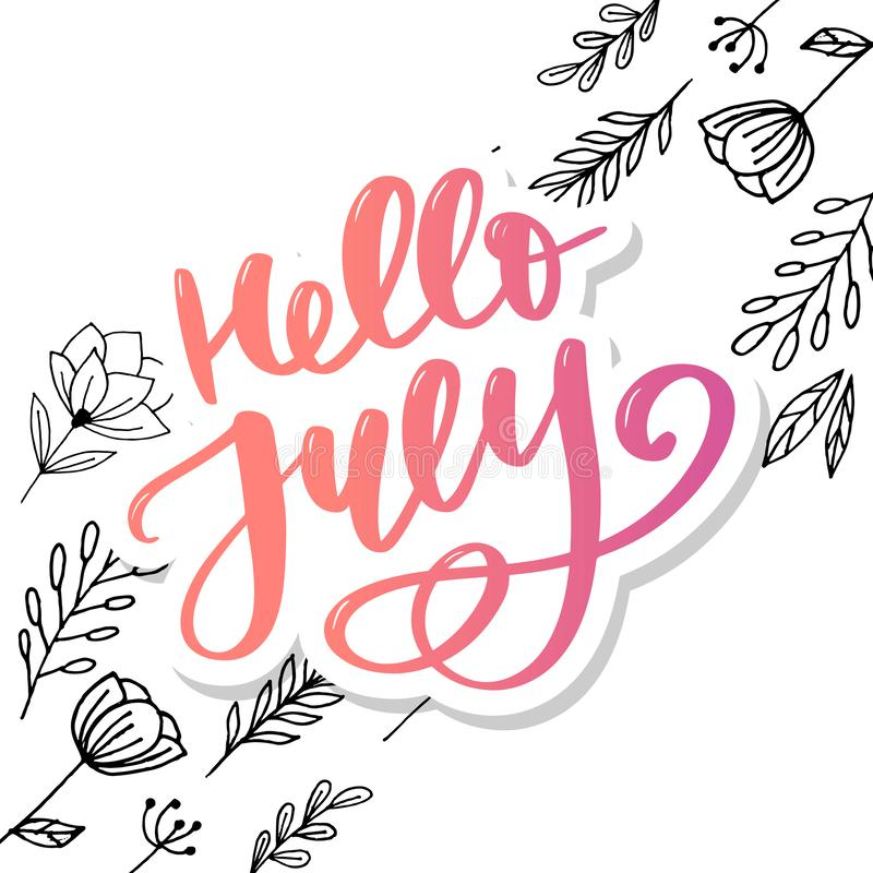 Hello july lettering print. Summer minimalistic illustration. Isolated calligraphy on white background royalty free illustration
