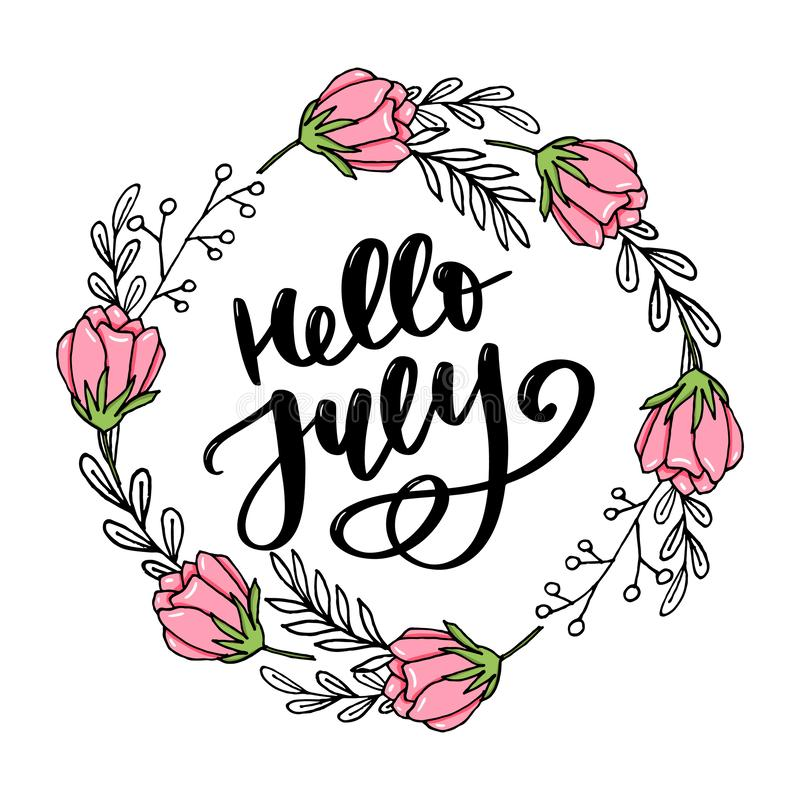 Hello july lettering print. Summer minimalistic illustration. Isolated calligraphy on white background vector illustration