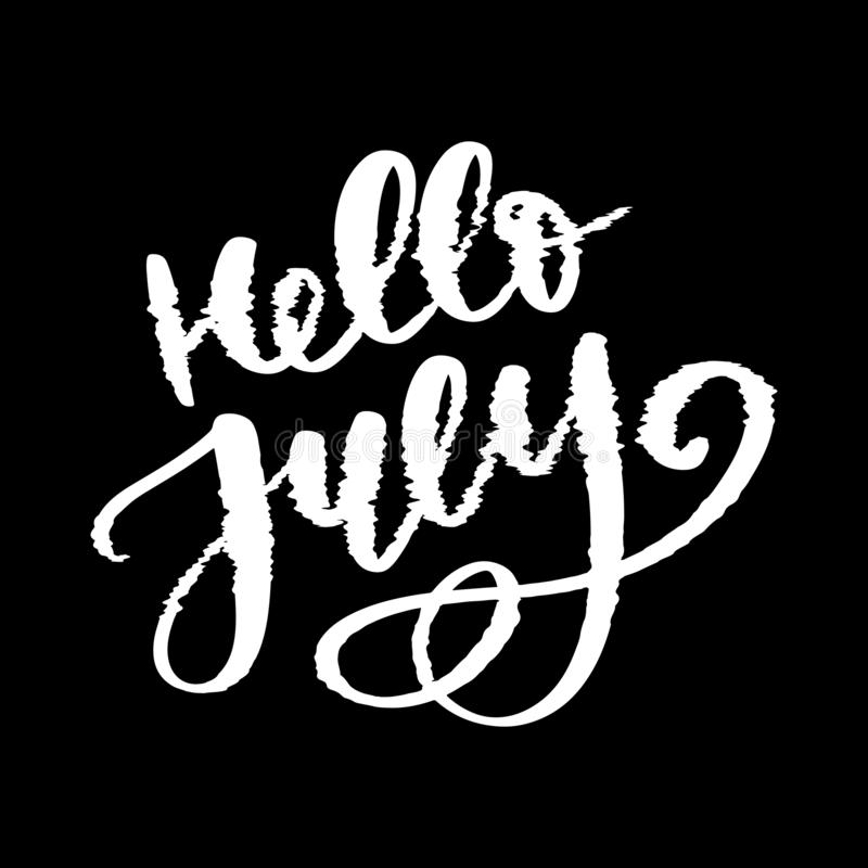 Hello july lettering print. Summer minimalistic illustration. Isolated calligraphy on white background. Glitch royalty free illustration
