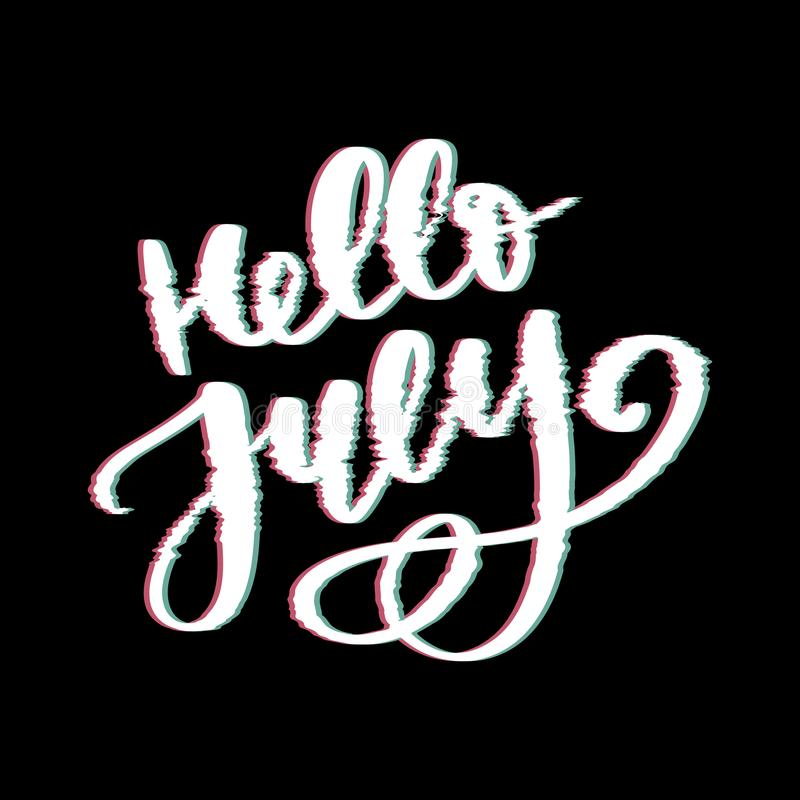 Hello july lettering print. Summer minimalistic illustration. Isolated calligraphy on white background. Glitch vector illustration