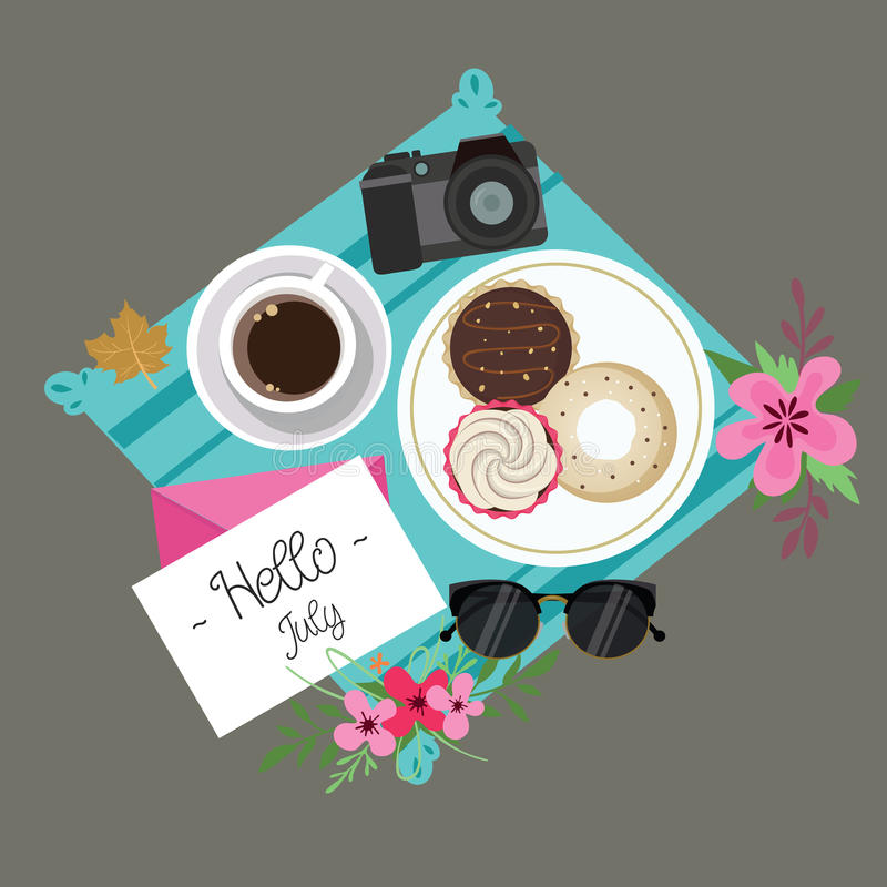 Hello July welcome spring summer session donuts coffee flower camera and glasses. Vector vector illustration