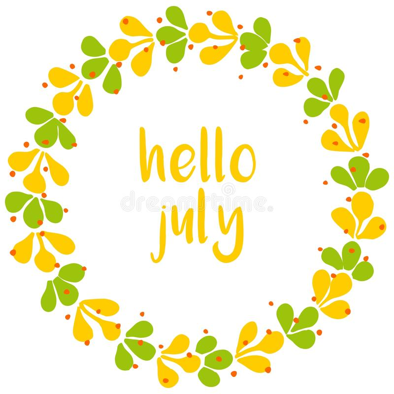 Download Hello July Wreath Sunny Yellow And Green Vector Card Stock Vector    Illustration Of Leaf