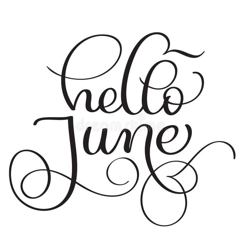 Hello june text on white background vintage hand drawn