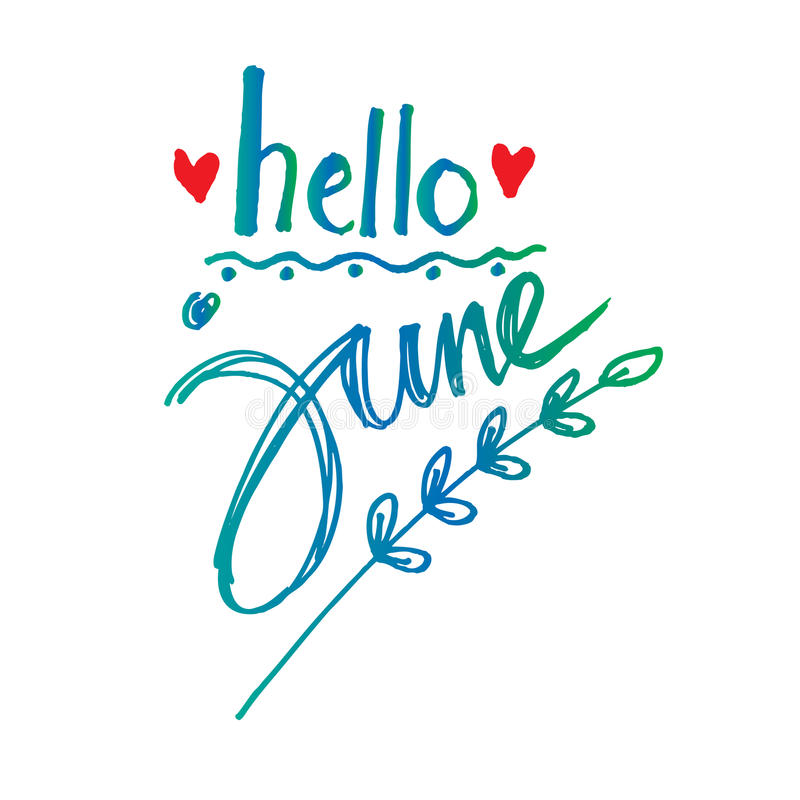Hello Juni royaltyfri illustrationer