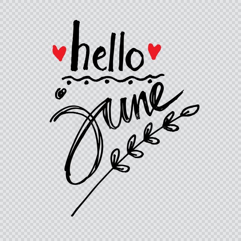 Hello Juni vektor illustrationer