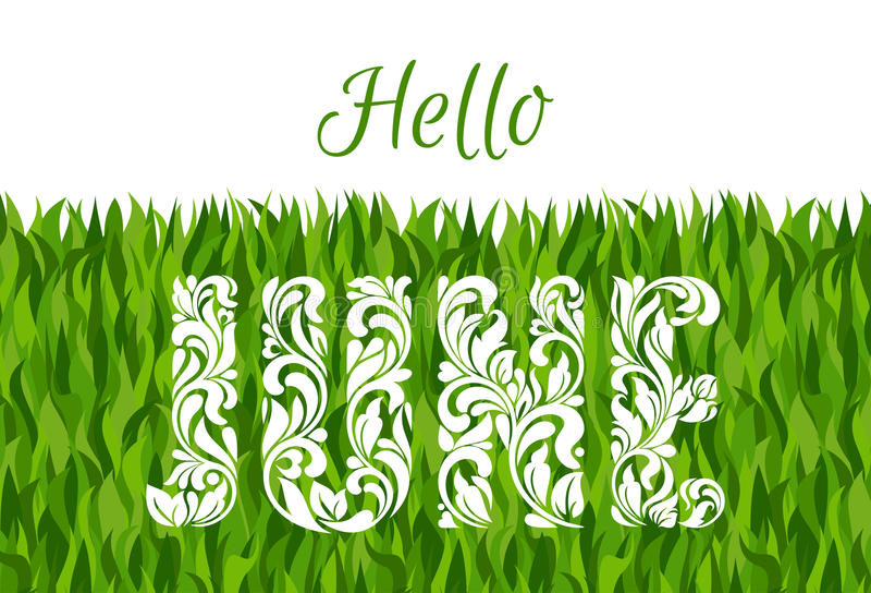 Hello Juni Dekorativ stilsort som göras i virvlar och blom- beståndsdelar royaltyfri illustrationer