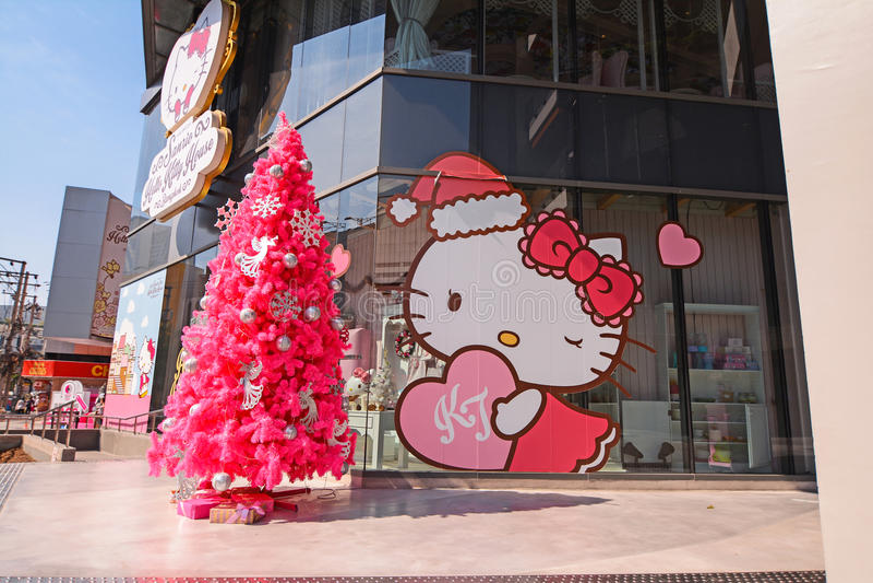 Hello Kitty议院曼谷:咖啡馆、商店&温泉 免版税图库摄影