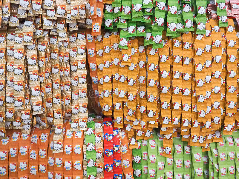 Hello kitty Candy. Prachuap Khiri Khan, Thailand - December 11, 2015 : Hello kitty Candy arrange in row at unidentifed shop stock images
