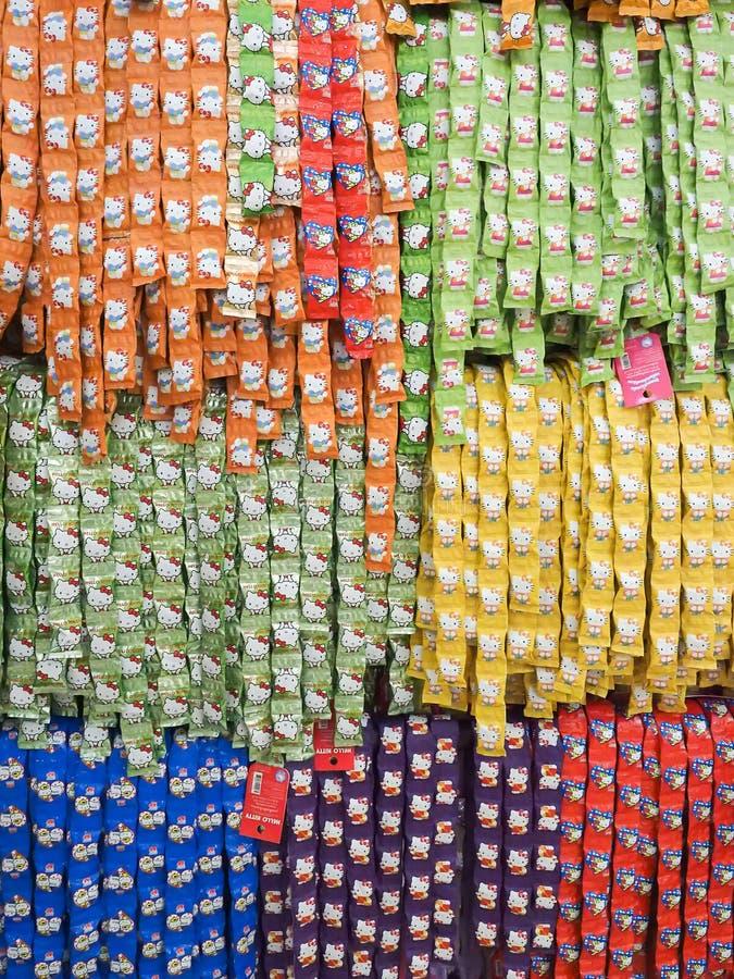 Hello kitty Candy. Prachuap Khiri Khan, Thailand - December 11, 2015 : Hello kitty Candy arrange in row at unidentifed shop stock photos