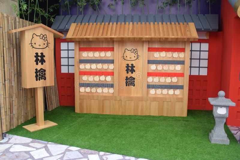 Hello Kitty Iść Wokoło Singapur Jabłczanej Świątynnej świątyni zdjęcia stock