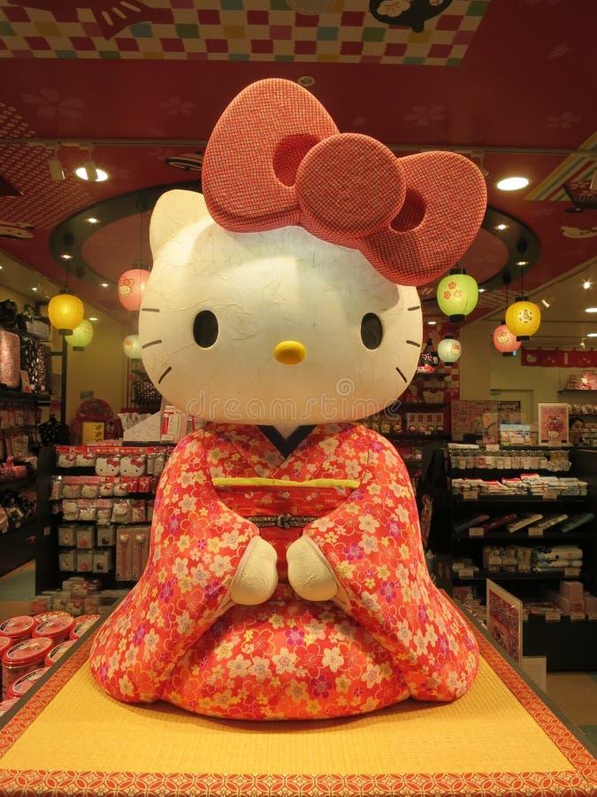 Hello Kitty in Kimonokleding stock afbeelding
