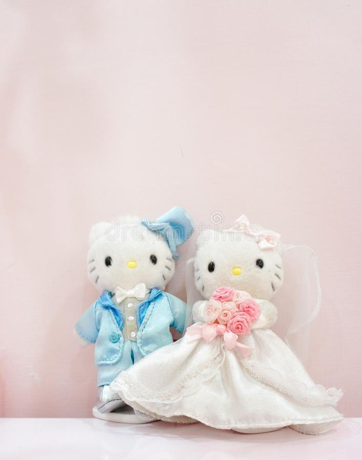 Hello Kitty & Kochane Daniel Pluszowe maskotki w HELLO KITTY wyspy muzeum & kawiarni, atrakcje turystyczne w Jeju Miękka ostrość  obrazy stock