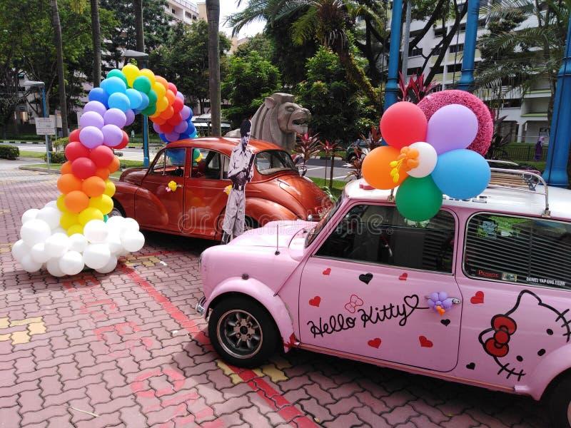 Hello Kitty rocznika samochody w Singapur fotografia royalty free