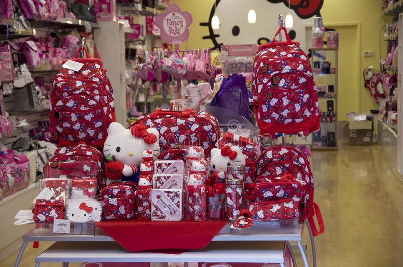 Hello Kitty-stuk speelgoed opslag royalty-vrije stock afbeeldingen