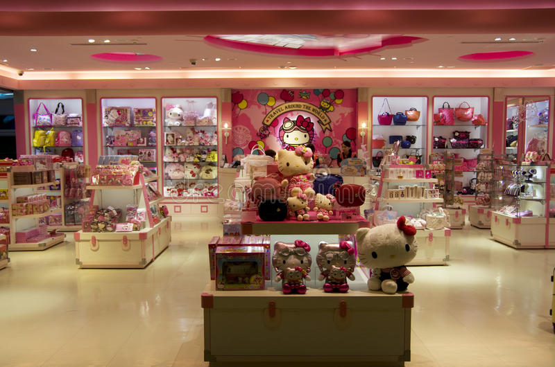 Hello Kitty-winkel stock foto's