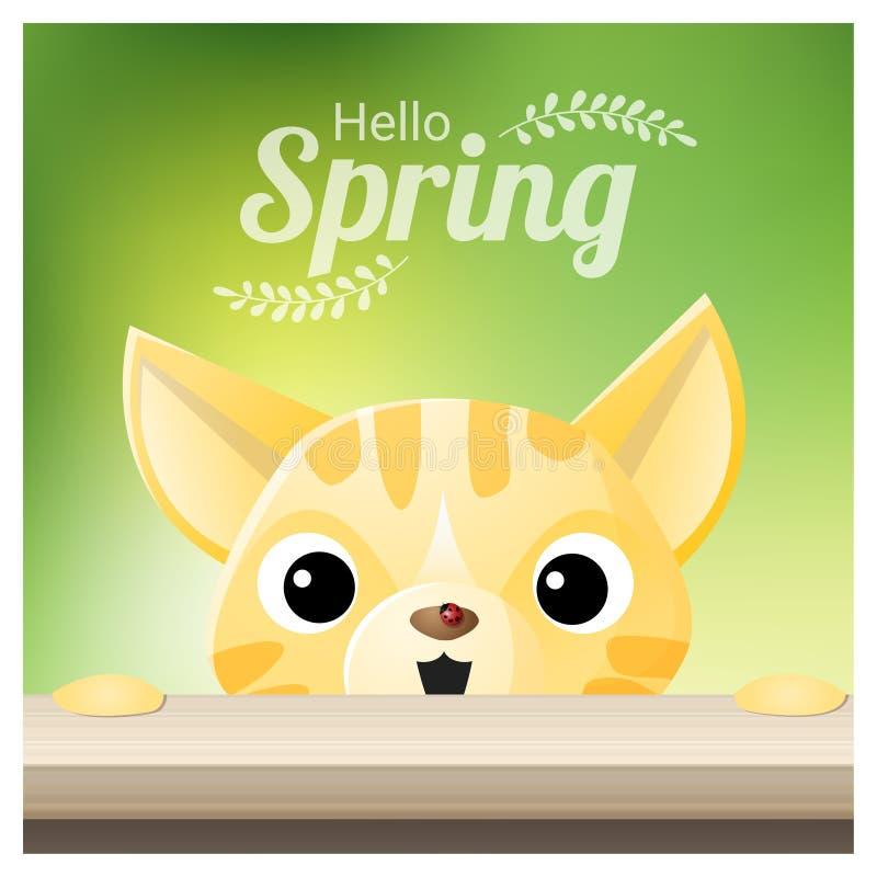 Hello-Lentetijdachtergrond met een kat die een rood lieveheersbeestje bekijken stock illustratie