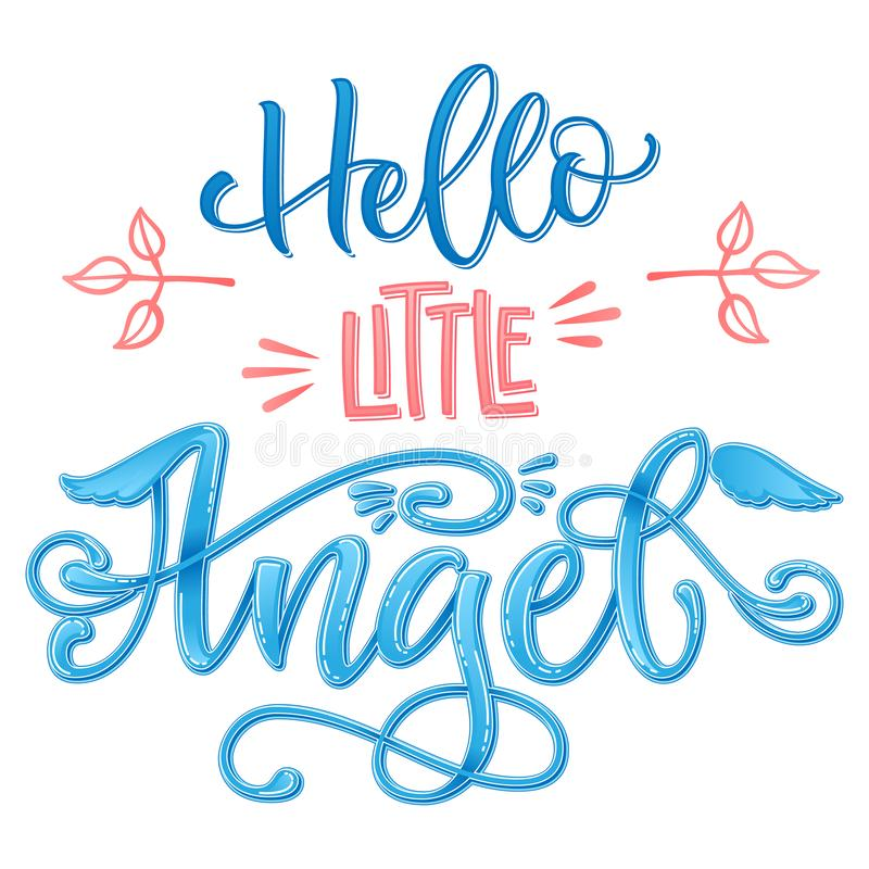 Hello Little Angel quote. Baby shower hand drawn calligraphy script, grotesque stile lettering phrase. Heart, angelic wings, halo elements. Color pink, blue royalty free stock photography