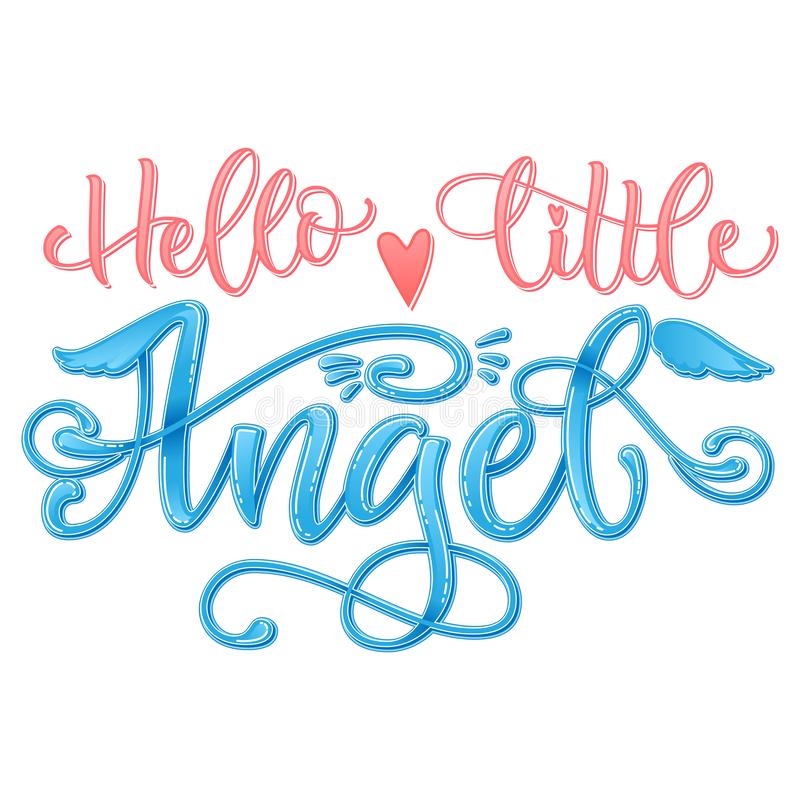 Hello Little Angel quote. Baby shower hand drawn calligraphy script, grotesque stile lettering phrase. Heart, angelic wings, halo elements. Color pink, blue royalty free stock photo