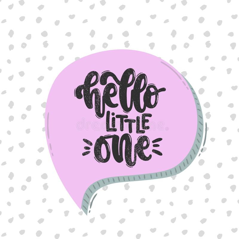 Hello little one poster kids room vector illustration