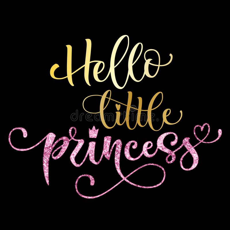 Hello little princess quote. Hand drawn modern calligraphy baby shower lettering logo phrase vector illustration