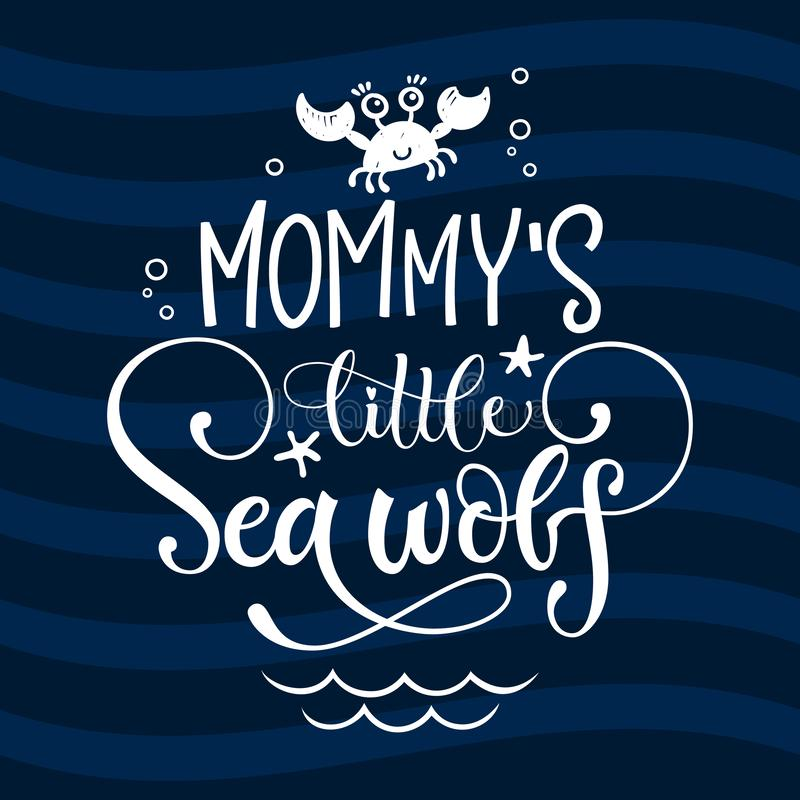 Hello little sea wolf quote. Simple white color baby shower hand drawn grotesque script style lettering vector logo phrase vector illustration