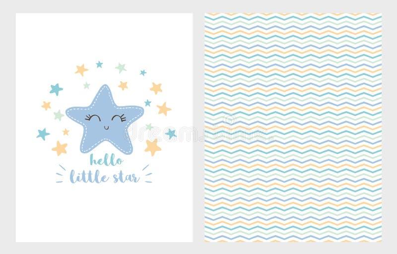 Hello Little Star Vector Illustration Set. Hand Drawn Design. Smiling Blue Star. Baby Shower. Hello Little Star Vector Illustration Set. Hand Drawn Design royalty free illustration
