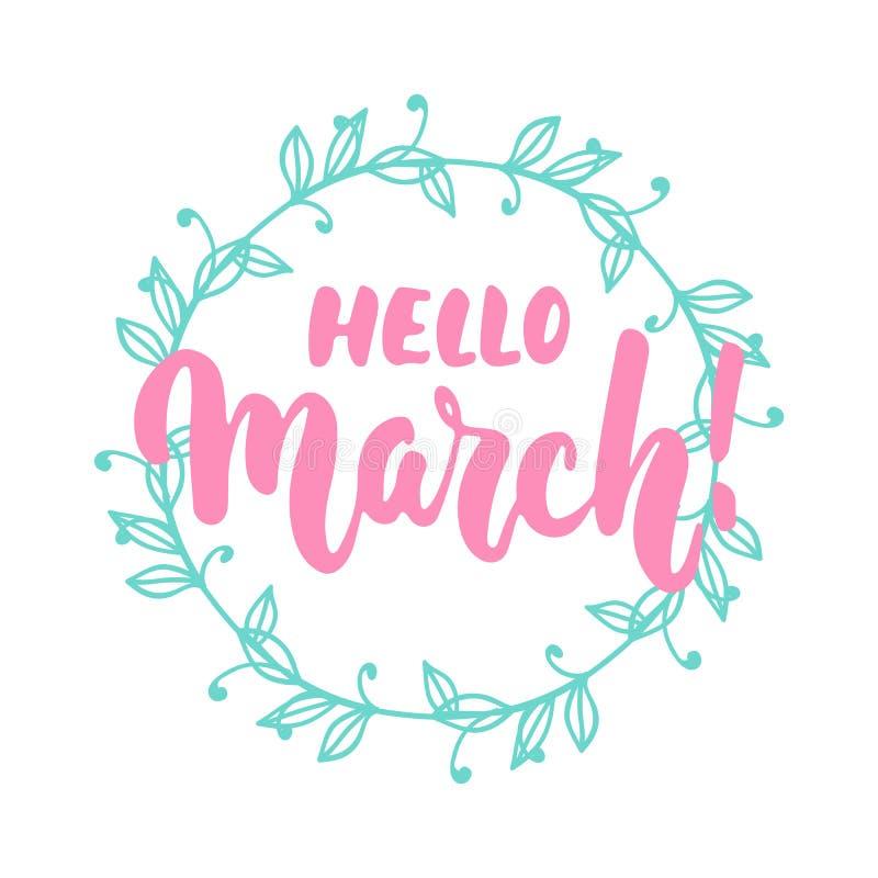 Hello, Maart - hand getrokken die het van letters voorzien uitdrukking voor eerste maand van de lente op de witte achtergrond wor royalty-vrije illustratie