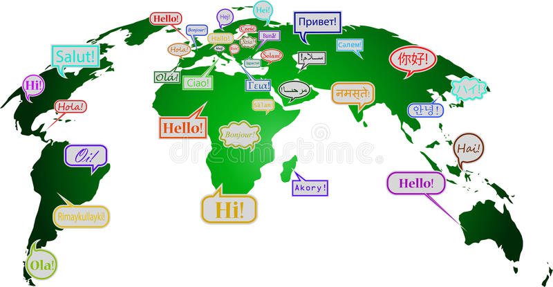 Hello In Many Languages Stock Vector Illustration Of Speaking - How many languages in the world are there