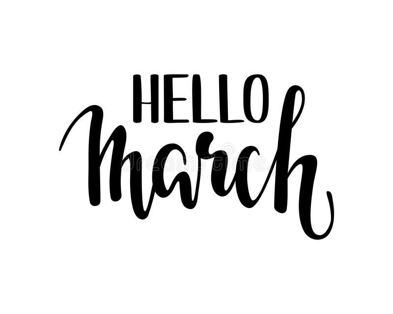 March Calligraphy Lettering Day Month Vector Brush Stock