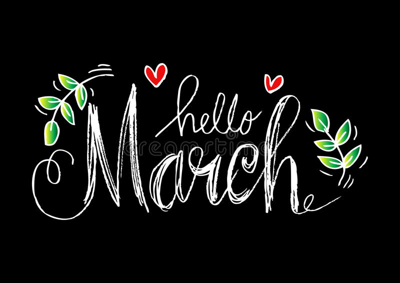 Download Hello March lettering stock illustration. Illustration of card - 85896674