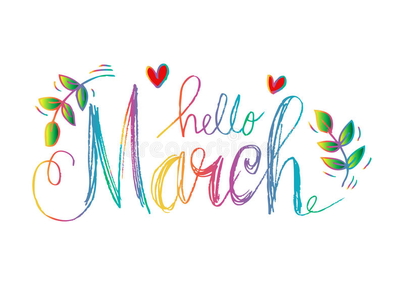 Download Hello March lettering stock illustration. Illustration of easter - 85896682