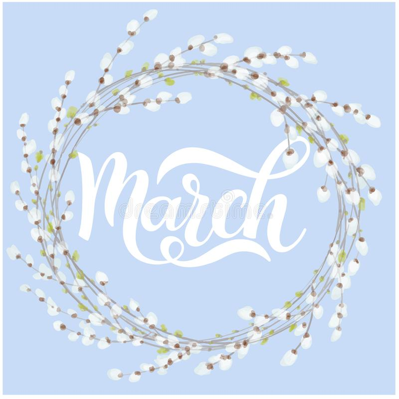 Hello March spring lettering stock illustration
