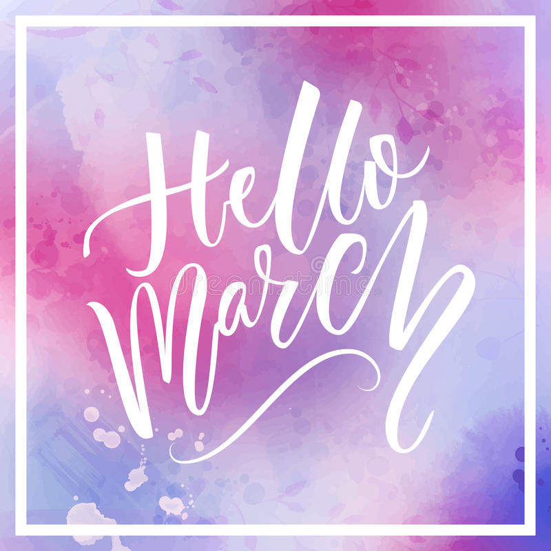Hello marscherar text på violett och rosa vattenfärgbakgrund Blommor, vin, exponeringsglas och en gåva Inspirerande design för so vektor illustrationer