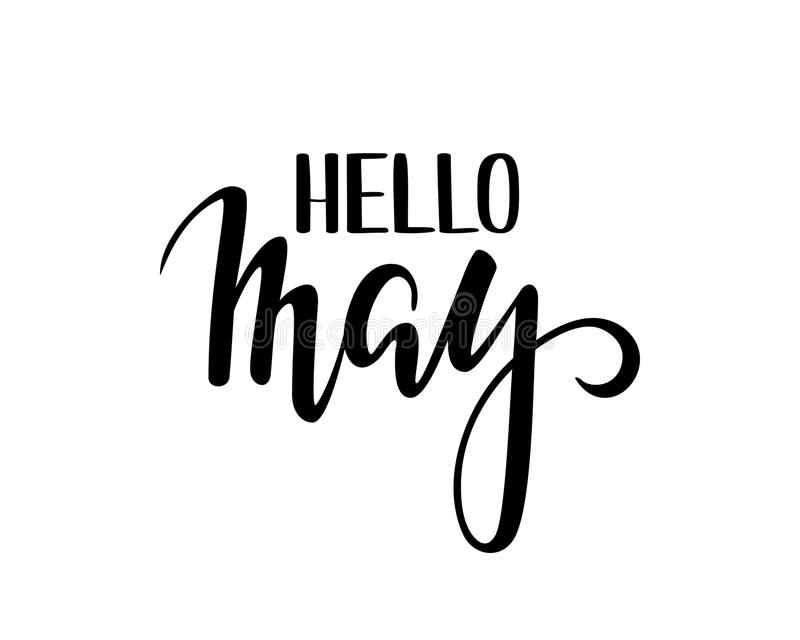 Hello may hand drawn calligraphy and brush pen lettering