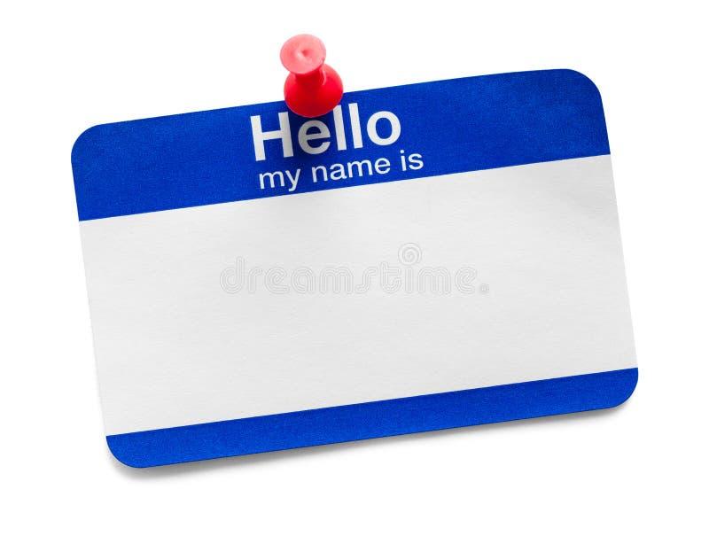 Hello Mijn Naam is Markering met Kopspijker stock fotografie